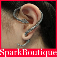 Min Order $10 (Mix Order) Antique Silver Gothic Cuff Earrings Snake Earrings Snake Wrap Earrings Clip Earrings Free Shipping
