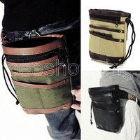P142  HOt Sale New Fashion Men's Canvas Hook Splice Faux Leather Purse Pack Belt Drawstring Waist Bags Pouch Beige  Black Olive