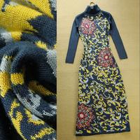 2013 turtleneck long-sleeve slim long thin paragraph one-piece dress vintage print sweater women full dress free shipping
