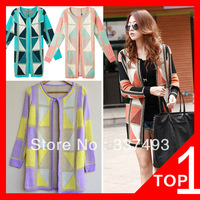 Vogue Of New Fund Of 2013 Vivi Magazine Geometric Plaid Stitching Color Sweater Coat