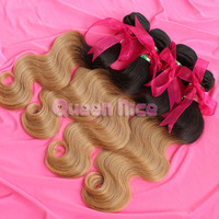 Free Shipping Ombre Hair Extensions Brazilian Body Wave Two Tone Color Human Hair Weaves 1B/27