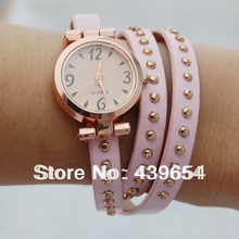 New Arrived wrap Around Bracelet Watch Bowknot Crystal Imitation leather chain women s Quartz wrist watches