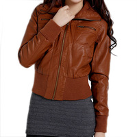 PUclothing female motorcycle models rib stitching Slim was thin long-sleeved leather women jacket coat lapel wild fashion LAP015