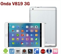 SGP Freeshipping 7.9 inch original onda v819 3G phone call tablet pc MTK8389 quad core android 4.2 bluetooth gps dual camera