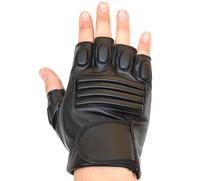 2pcs Half Finger Gloves Men sports semi-finger faux leather lucy refers to gloves hip-hop winter black motorcycle Parkour Sport