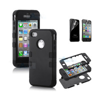 Hybrid High Impact Case Cover for iPhone 4S 4 4G Black Silicone case + Film B67-3