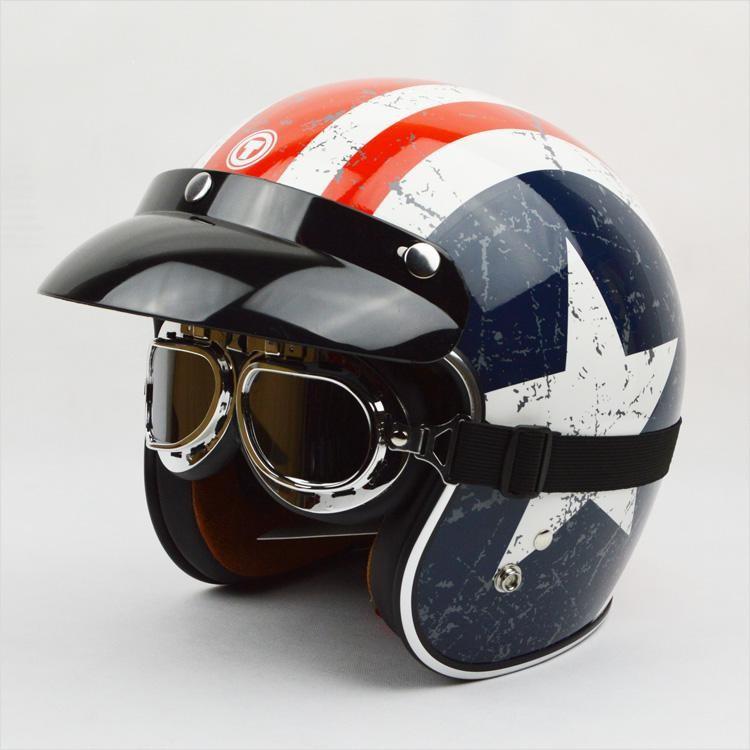 Spedizione gratuita! Marchio di moda Torc t-50 vintage caschi da moto Capitan America 3/4 capacete bandiera americana casco aperto
