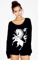 2013 Autumn New Arrival European Hot Selling Long Sleeve Bling Horse Women Brand Pullovers    Fashion Women Cool Sweater