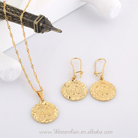 2013 New Designer Unique Carving Coin Shape, 24k Gold Plated Round Pendant Necklace Earrings Sets, Fashion Women Jewelry