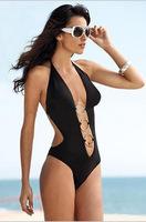 2014 Brand Swimwear For Women,High Waist Swimsuit Bikinis,Sexy Monokini Bathing Suit, Womens Bandage Swimsuit Black Swimwear