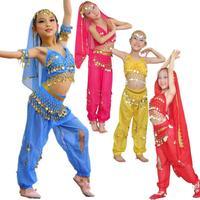 2014 Latest Child Indian Dance Performance  Costumes Belly Dance Clothes Children Costume Top Pants Veil Belt CBB EJ