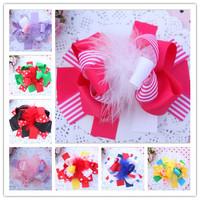 """Children 6"""" Hair Bows Hair Pins Girl Layered Hair Bows Christmas Feather Barrette Handmade Ribbon Flowers Hair Clips Headwear"""