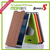 Flip leather case for Lenovo P770 With Stand Function 100% MOFI leather Cover Shell for Free Screen Protector Guard 4 Color
