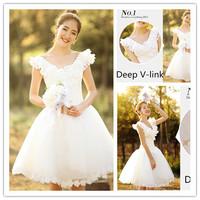 2014 Gossip.H All sizes Personal custom Beautiful bride short design wedding dress White lace princess bridesmaid dress