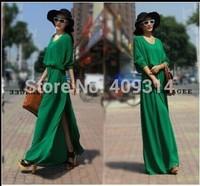 Free Shipping 2014 New fashion Batwing Sleeve Chiffon Placketing Mop Full Maxi Long Party Dress/Evening Dress