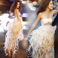 2014 Gossip.H Luxury diamond low-high bridesmaid wedding dress Evening dress short dress design Feathers sexy Jewelry dress