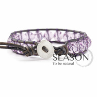 free shipping! Hot! Cow leather cord wrapped Amethyst Bracelet Crystal Keeper Gemini lap winding Bracelet