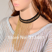 Free shipping New Arrived Christmas jewelry Retro Gold Metal multi layer Statement necklaces N3141