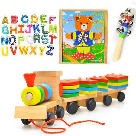Toys paradise!4 in1Wooden Train Baby Rattle bear clothes change child educational wooden Toys 4pcs for se free shippingt(China (Mainland))