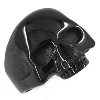 Free shipping! Black Plated Cool Skull Ring Stainless Steel Jewelry Gothic Motor Biker Ring Punk Men Ring SWR0069
