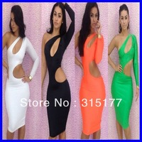 Free shipping Black One-shoulder Cutout Club Bodycon Dress Club Dress Wholesale 10pcs/lot  2013 Dress New Fashion 2974