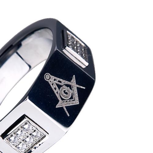Men's Tungsten Ring Wedding Band King Masonic CZ Diamond 12MM Titanium ...