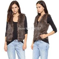 FREE SHIPPING new 2014 autumn winter Plus Size simple fashion pinched waist  wavy pinstripe double pocket women fur vest  XS-XXL