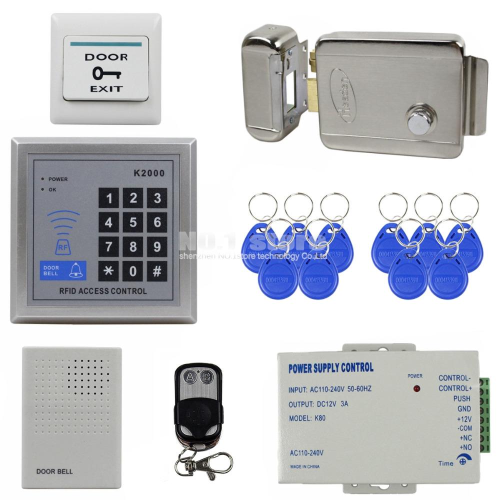 DIY Access Controller 125KHz Rfid Keypad Access Control System Kit + Electronic Door Lock + Power Supply + Door Bell K2000(China (Mainland))