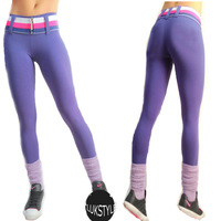 2014 Women Plus Size Gym High Waist Cotton Leggings Solid Yoga Fitness Sport Pants With Different Colors Belt as a Gift