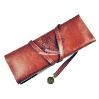5pcs/lot brown High-class Moon Synthetic Leather Soft Makeup Cosmetic Bag pen Pocket cheap wallet free shipping
