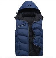 2014 Brand Sports Thick Men's Vest Winter & Spring Waistcoat Sleeveless Jackets Cotton Coats Blue/Black 4XL Mans Vests Plus Size