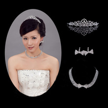 The Bride Accessories Set Formal Dress Wedding Three Pieces Necklace+Earrings+Crown Marriage Accessory Decoration Hair