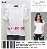 t short women 2013 fashion puff sleeve round neck basic t shirt women cotton blusa free shipping