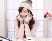 2014 New Printed flowers Double half-finger palm gloves palm for women's christmas for freeshipping