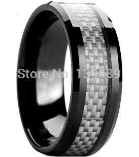 Free Shipping Black White Carbon Fiber Inlaid Tungsten Engagement Wedding Ring