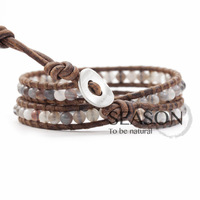 free shipping! Cow leather cord wrap bracelet woven Persian Gulf Agate Bracelet Fashion ladies bracelet wrapped around two turns