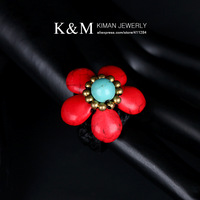(Min order is $10) New Nice Flower Model Design Turquoise Crystal Ring Unique Handmade Jewelry for Women RI-02018
