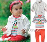 Cute Owl Fashion Baby T-Shirt Jacket Pants Girls 3 Piece Set Kids Clothes Suit Vetement Enfant Toddler Girls Fall Clothing Wear