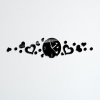 40X60cm 18PCS/set 2013 new  home decor black heart mirror clock wall clock 91decor.com