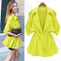 2014 New Fashion Womens Coat Foldable Bating Sleeve Lapel Loose Slim With Belt Thin Outerwear Tops Trench