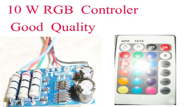 80% discounts 10 pcs/lot LED RGB controler 10W 24 key remote IR Controler for waterproof led light ,free shipping(China (Mainland))