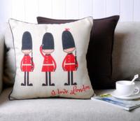 Free shipping london soldier pillow cover natural linen cushion cover/zara women 2013 sofa cushion/kaozhen office