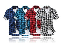 [ Foreign Trade ] summer special for new plaid short-sleeved shirt 226