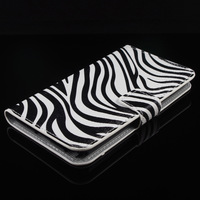 Fashion Black White Zebra Leather Card Wallet Shell Cover Skin Case Cases For Samsung Galaxy Note 3 Note3 Note III N9000 N9005