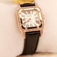 Luxury Square Watch New 2014 Quartz Watch Leather Women Dress Watch Woman Rhinestone Watches Gift Relogio Feminino Free Shipping