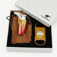COHIBA Reddish Orange Woodpecker Jet Frame Cigarette Cigar Lighter Cutter Set