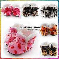 Flannel Leopard boy shoes infant baby slippers ;animal Indoor Socks Winter cheetah/zebra Print #2B2063  12 pair/lot(6 colors)