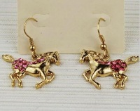 free shipping 6 pair/lot fashion women jewelry animal pink crystal animal horse drop earrings