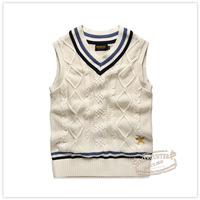 In stock and sales 2013 autumn new arrival men's clothing V-neck knitted pullover classic vintage preppy style sweater vest