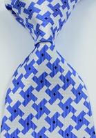 New Classic Pattern Blue White JACQUARD WOVEN Silk Men's Tie Necktie#052